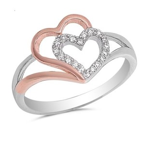 9.2.5 Adorable white sapphire double heart knot ring size 6