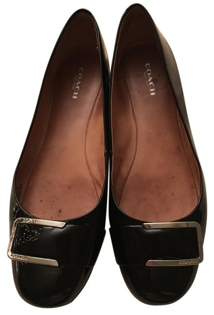 Coach Black Patent Leather Silver Round Toe Flats Size US 8.5 Regular (M, B) Coach Black Patent Leather Silver Round Toe Flats Size US 8.5 Regular (M, B) Image 1