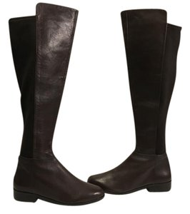 MICHAEL Michael Kors Front Otk In Front Stack Wood Heels Brown Leather back stretch gussets leather lined Boots