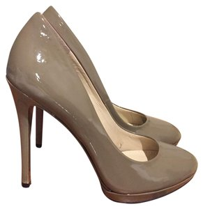 Brian Atwood Nude Patent Leather Pumps taupe Platforms
