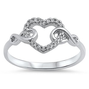 9.2.5 Adorable white topaz heart eternity ring size 8