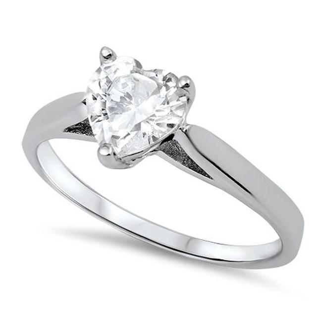 9.2.5 White Classic and Chic Topaz Heart Cocktail Size 7 Ring 9.2.5 White Classic and Chic Topaz Heart Cocktail Size 7 Ring Image 1