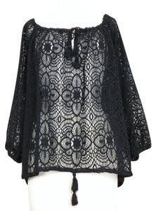 Ralph Lauren Crochet Boho Hippie Top black