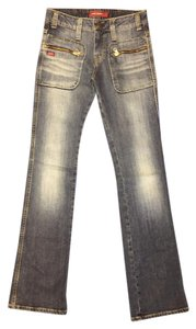 Miss Sixty Denim Skinny Zippers Pockets Mid-rise Straight Leg Jeans-Distressed