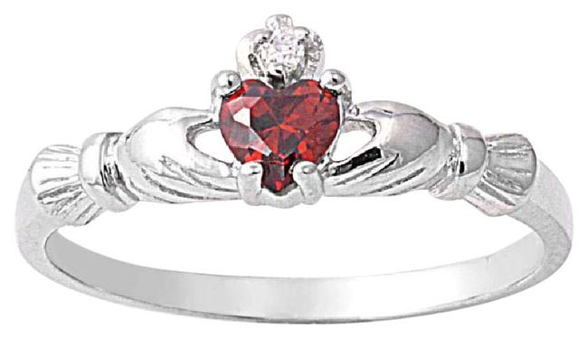 Item - Red Adorable Garnet Heart Claddagh Silver Size 6 Ring