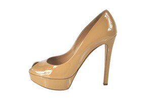 Dior Miss Peep Toe Size 39.5 Patent Leather Nude Pumps