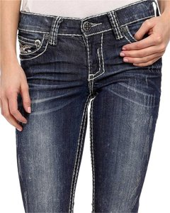 Affliction Thick Stitching Buttons Distressed Boot Cut Jeans-Medium Wash