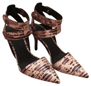 Alexander Wang creamy mix with black and tan skin print Pumps