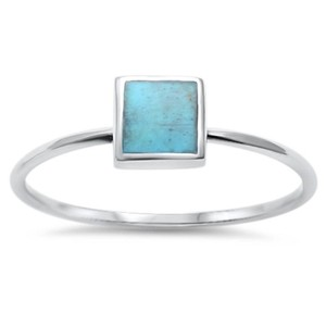 9.2.5 Classic square turquoise silver ring size 7