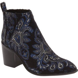Jeffrey Campbell Current Viggio Paisley Brocade Chelsea Black blue Boots