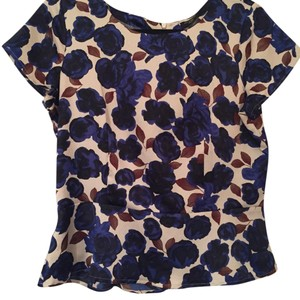 Ann Taylor Top Blue, Brown and Cream