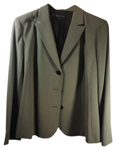 AK Anne Klein Classic Style Notched Lapels Black/olive mini tweed Blazer