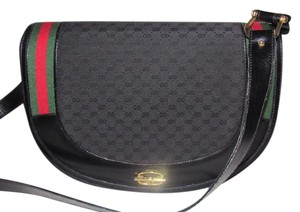 Gucci Equestrian Large Print Wide Rare Version Has Key& Charm Fobs Satchel in black small G logo canvas/leather with red and green striped accent