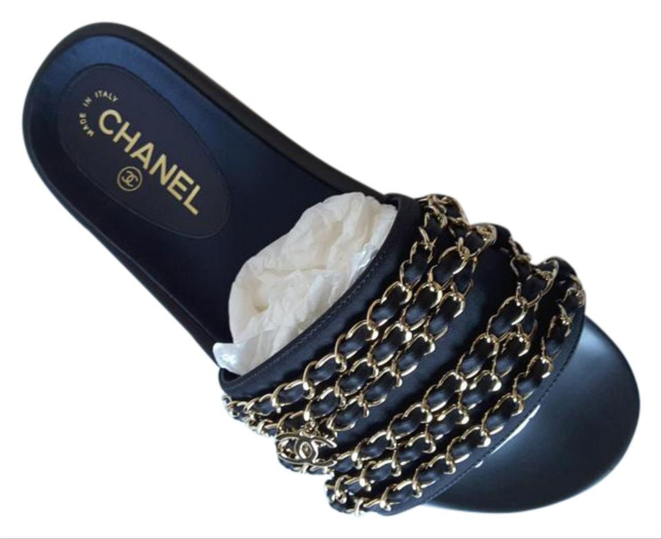 2aa185837cb Chanel Navy Tropiconic Chain Mules Marine Slides Fabric Sandals. Size  ...