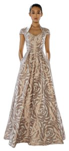 Theia Ball Gown Embossed Taffeta Dress