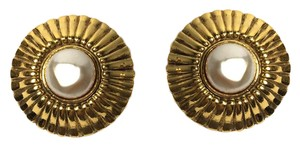 Chanel Authentic Chanel Gold Tone Faux Pearl Earrings