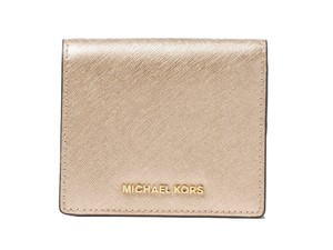 Michael Kors Michael Kors Jet Set Gold Saffiano Leather Bifold Card Holder Wallet