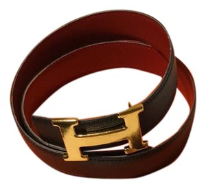 Herms Hermes H belt kit in red and navy.