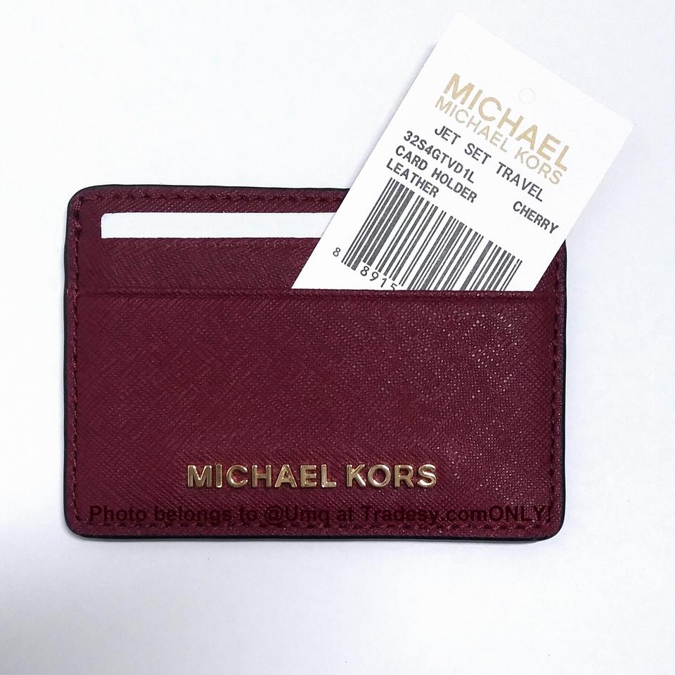 7f181495c171 Michael Kors NWT MK Saffiano Leather Card Case Credit Card Holder Wallet  Image 6. 1234567