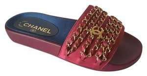 Chanel Runway Sandals Red Mules