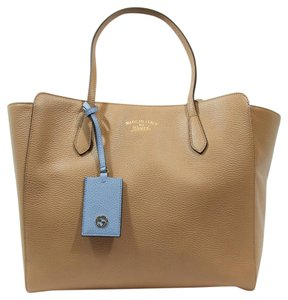 c0f4bab245d8fb Gucci 354397 Swing Leather Tote in Camelia / Mineral Blue