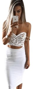 SABO SKIRT Date Night Crop Bandeau Top white and beige