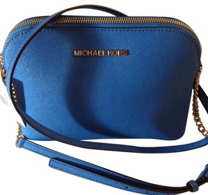 MICHAEL Michael Kors Saffiano Leather Crossbody Cindy Satchel in Heritage Blue