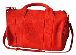 Alexander Wang Rocco Leather Studded Satchel in Tangerine