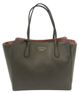 Gucci 354397 Swing Leather Tote in Grey Field / Soft Pink