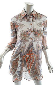 Etro Paisley 100% Silk Tunic Top Multi Color