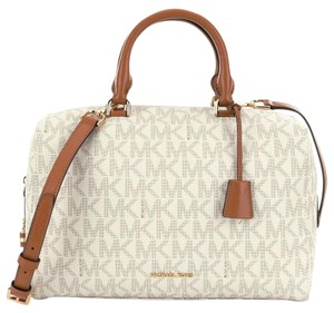 Michael Kors Strap Signature Pvc Large Kirby Satchel in Vanilla