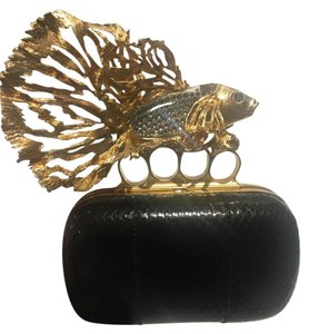 Alexander McQueen Limited Edition Python Black with Gold Colored Hardware Clutch