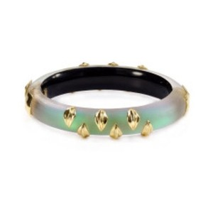 Alexis Bittar Alexis Bittar turquoise and gold striped Lucite Hinged bracelet NEW
