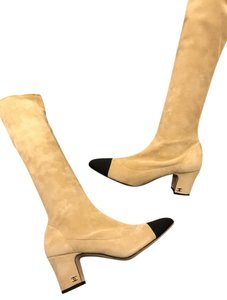 Chanel Cc Two Tone Stretch Beige/Black Boots