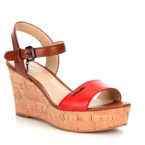 Coach Carmine Red, brown and Cork Wedges