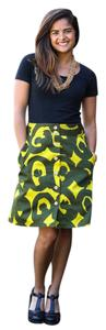 Marimekko Anthropologie Retro Flare Midi Floral Vintage Skirt lime green dark green