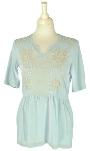 Johnny Was Bohemian Cotton Embroidered T Shirt aqua