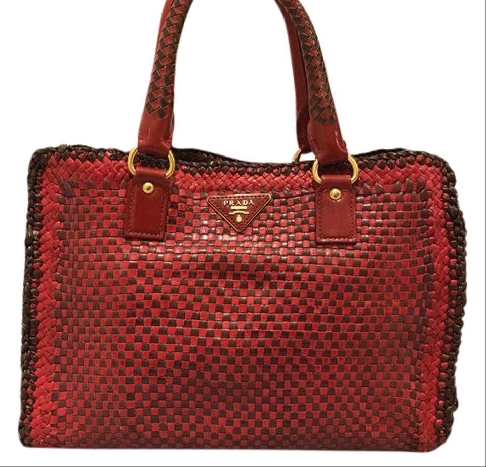 9e47ff5345 Prada Madras Red Leather Satchel - Tradesy