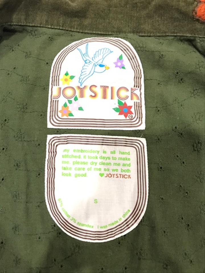 Joystick green women s corduroy embroidered graphic snap