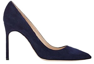 Manolo Blahnik Bb Navy Suede Pumps