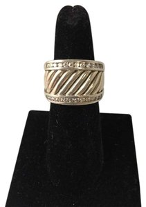 David Yurman David Yurman Sterling Silver Diamonds Cigar Cable Band Ring