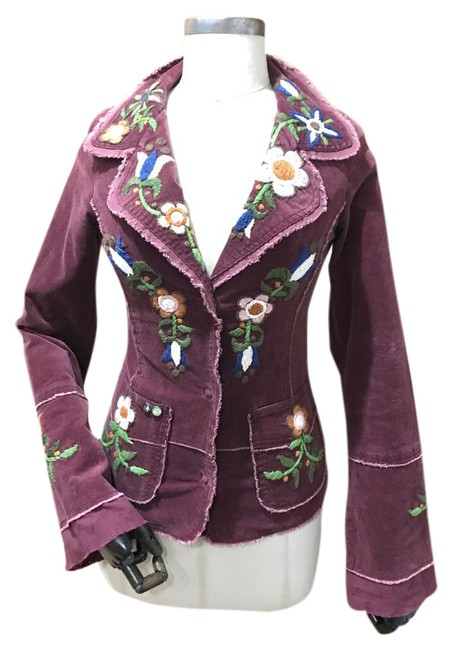 Item - Maroon Women's Corduroy Embroidered Graphic Snap Front Jacket Size 4 (S)