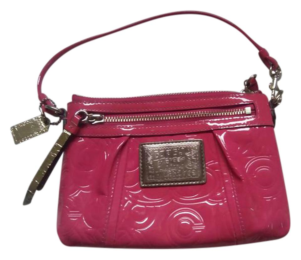 8fae6bdd16 Coach Poppy Collection Large Wristlet Pink Patent Leather Clutch ...