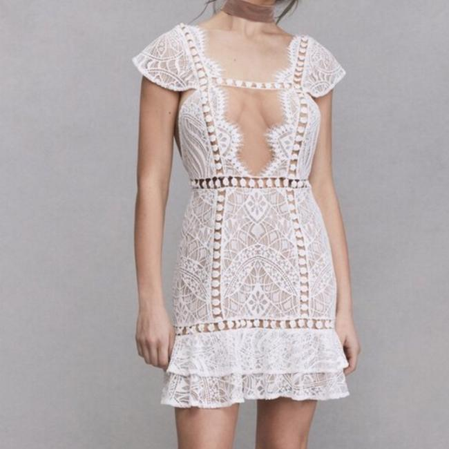 Item - Ivory White And Emerie Lace Short Cocktail Dress Size 4 (S)