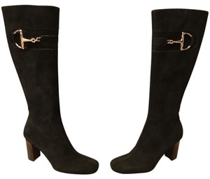 Gucci Suede Detail Patent Leather Italian Black Boots