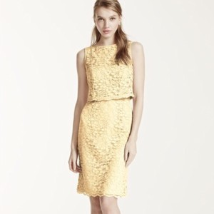 David's Bridal Canary Yellow David's Bridal Lace Dress W/ Popover Top Dress