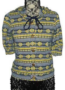 Juicy Couture Hooded Designer Button Front Decorative Buttons Top Blue, Yellow, and White Pepin Print