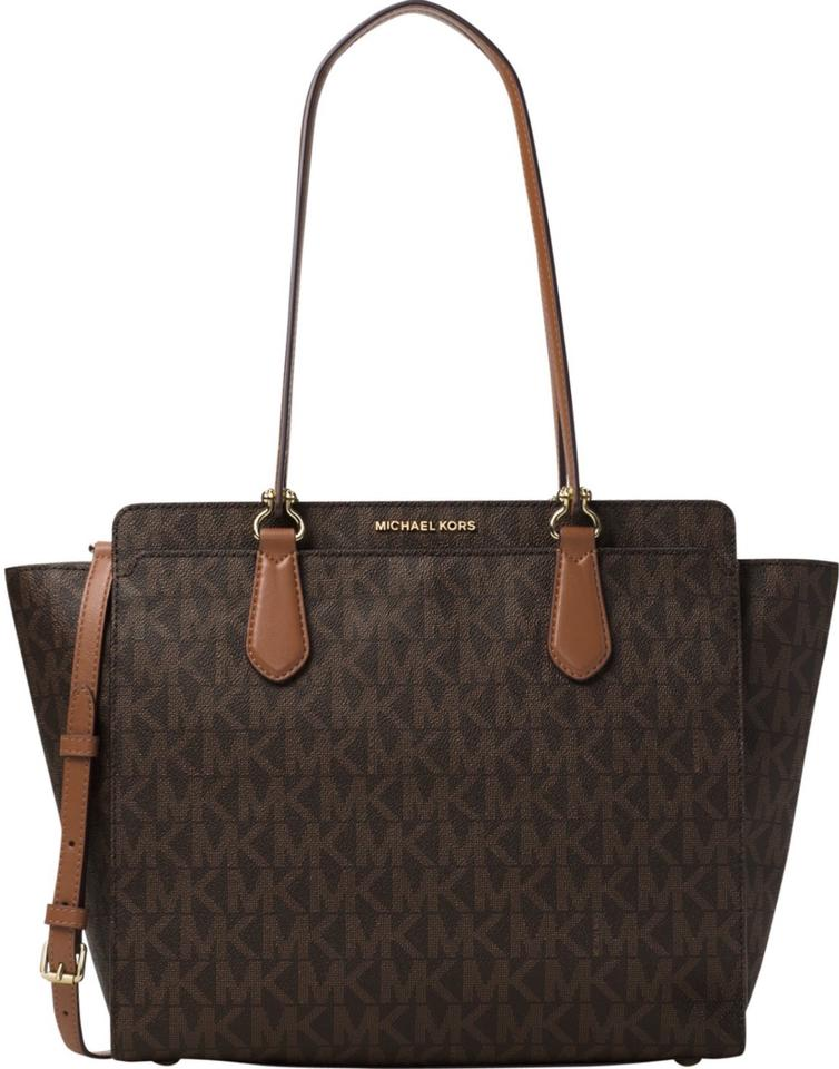 2d0f27e6dbc3 Michael Kors Convertible Dee Large Brown Mk Signature Coated Twill (Faux  Leather)  Lining  Polyester. Tote