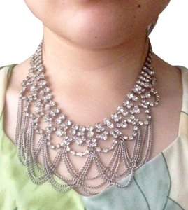 Silver Rhinestone Dangle Tassel Statement Fashion Chain Necklace
