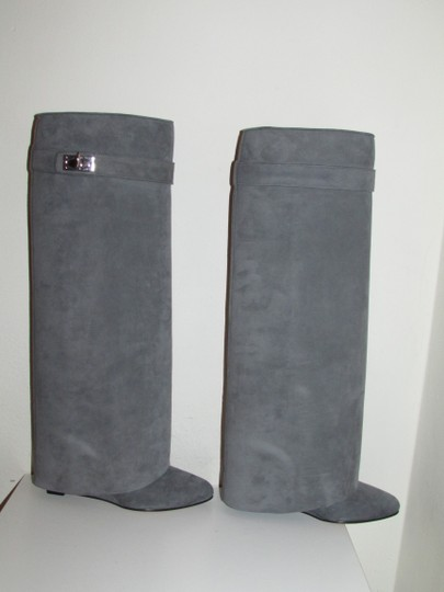 Givenchy Grey Suede Shark Lock Boots Image 2
